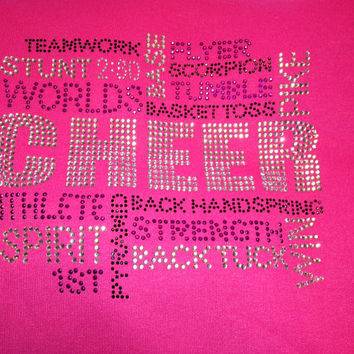 Use 'Flash' for 5 discount All about Cheer terms rhinestone mega bling shirt multiple colors available