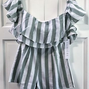 Woven Cold Shoulder Striped Romper - Green/White