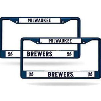 Milwaukee Brewers  Blue Painted Chrome Metal (2) License Plate Frame Set
