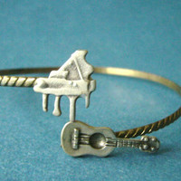 Piano music bracelet with a guitar wrap style