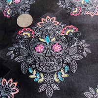 Sugar Skull Fabric Sugar Skull Lace Mexican Fabric Day of the Dead Fabric Cotton Fabric Pillowcase Fabric Home Decor Fabric Curtain Fabric