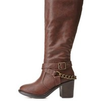 Belted Chain Harness Riding Boots by Charlotte Russe