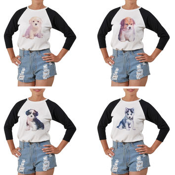 Women Dog hand painted watercolor Printed T-shirt WTS_03