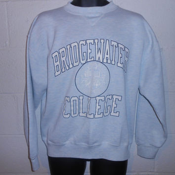 Vintage Light Blue Bridgewater College Crewneck Pullover Sweatshirt L