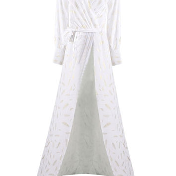 Honey Couture STEPH White Gold Foil Feather Feature Maxi Dress