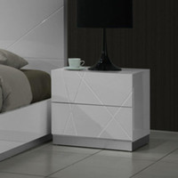 J&M Furniture Naples Nightstand in White Lacquer
