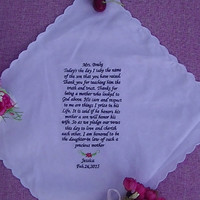 Mother of groom gift personalized  scalloped edge  hem embroidery handkerchief wedding gift with handmade envelope