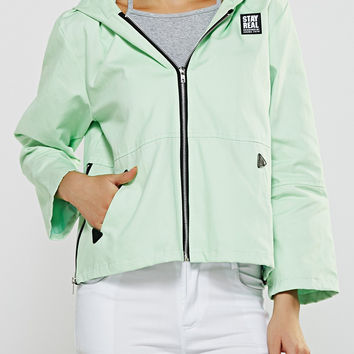 Appliqued Candy Color Zippers Hoodie Jacket