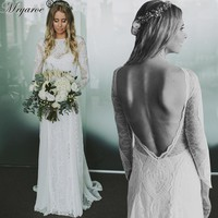 Exquisite Lace Long Sleeve Backless Wedding Dresses 2017 Boho Chic Wedding Dress Bridal Gowns robe de mariage 2017