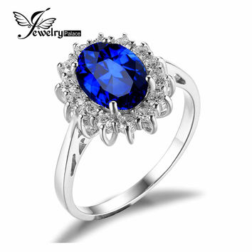 Luxury British Kate Princess Diana William Engagement Wedding Blue Sapphire Ring Set Pure Solid 925 Sterling Silver