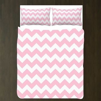Custom Chevron Duvet Bedding Set-Light Pink and White-ANY COLORS You Want-Twin XL-Full/Queen-King-Girls Room-Teens-Dorm Room-Home Decor-Size
