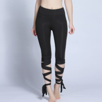 The new wide band yoga pants outdoor dance yoga pants show thin and beautiful sports pants