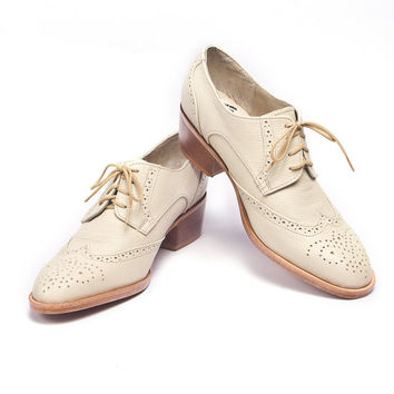 ivory oxford brogues shoes cuban heel - FREE WORLDWIDE SHIPPING