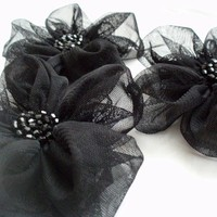 Black Flowers Handmade Appliques Embellishments(3 pcs)