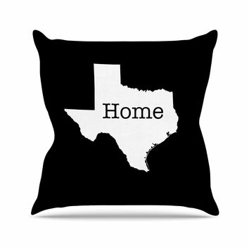 "Bruce Stanfield ""Texas State Outline"" Black White Outdoor Throw Pillow"