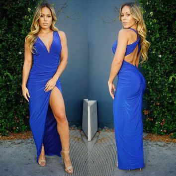 FASHION BLUE DEEP V IRREGULAR HOT DRESS