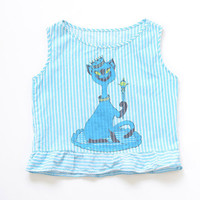 Girls Size 5-6 Years | Vintage Siamese Cat Screen Printed Tank Top | Teal/white Stripes and Ruffle