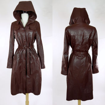 1970s hooded leather coat, brown trench coat with waist tie, Nordstrom, medium to large long jacket