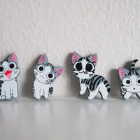 SALE Cute Cat Magnet Set, Wooden 4 Piece, Wood Animal Magnet Set, Home Decor, Cabin Decoration, Wood Cutout, Kitchen