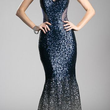 Navy/Silver Sequins Mermaid Evening Gown V-Neck
