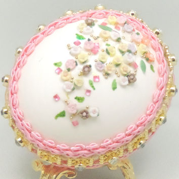 Spring Flowering Pink Floral Egg Ornament Mothers Day Gift Home Decor Easter Egg Faberge Style Decorated Egg Art