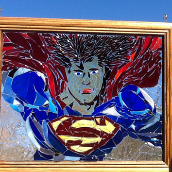 Stained Glass Superman Window Art Sun Catcher, Super Hero, Comic Con, Unique Gift idea, Gift for him, Christmas Gift, Birthday, Wedding Gift
