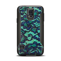The Blue & Teal Lace Texture Samsung Galaxy S5 Otterbox Commuter Case Skin Set