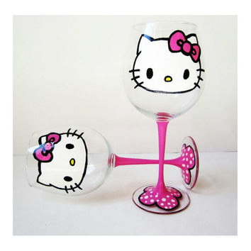 Hello Kitty Wine Glass - set of 2 glasses - pink stem - white polka dots - 20 oz