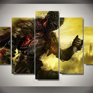 Unframed 5pcs Dark Souls Game Poster Oil Painting on the Wall Art Canvas Modular Pictures Large Hd Wall Pictures for Living Room