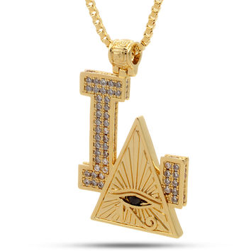 14K Gold Los Angeles All Seeing Eye Necklace