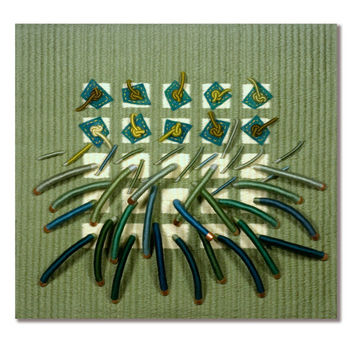 Contemporary Fiber Art, Handwoven Soft Green Sculpture Titled Earth Series No. 10, Wall Art, Fine Art Textile, OOAK