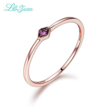 L&Zuan 14K Rose Gold Ruby Jewelry 0.029ct Natural Small Slim Rings for Wome Green/Blue/Red Stone Trendy Party Ring Fine Jewelry