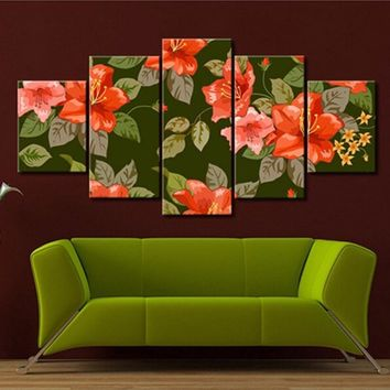 Canvas Wall Art 5 Piece Red Flowers Green Leaves Print Wall Art Canvas Print