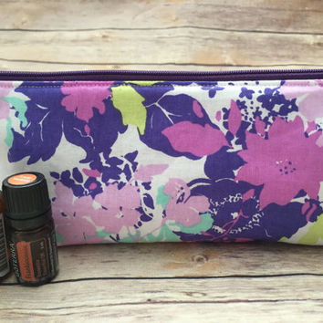 Purple and Mint Floral Essential Oil Case, Purple Essential Oil Pouch, Floral Essential Oil Bag, Essential Oil Travel Case