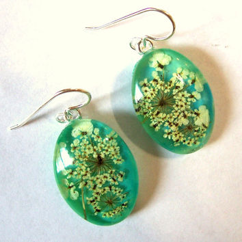 Queen Annes Lace Real Pressed Flower Turquoise Sterling Silver Drop Earrings