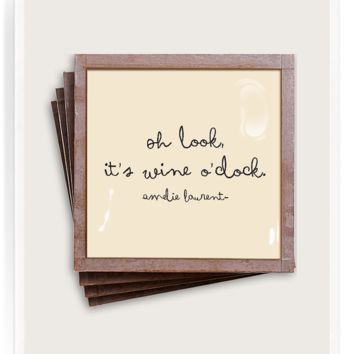 Oh, Look, It's Wine O'Clock Copper & Glass Coasters, Set of 4
