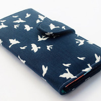 Navy Clutch Wallet, Women's Fabric Vegan Wallet, Flying Birds in Navy - Ready to Ship