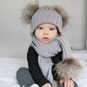 Winter Warm Wool Hat Scarf Sets Children Real Fur Fox Fur Hat Ki 4621bf238a26
