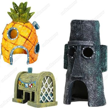 Mini Aquarium For SpongeBob & Squidward House Pineapple Cartoon House Home Fish Tank Aquarium Ornament Decorations Escape Hole