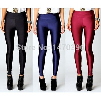 Hot Women High Waist Stretch Skinny Shiny Spandex Leggings