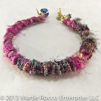Silk Magenta fabric and yarn wire wrapped bangle bracelet. 453BA