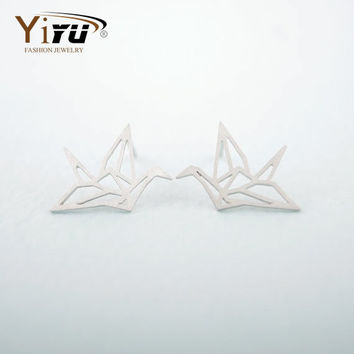 Lovely Wild Origami Crane Stud Earrings For Women Graceful Flying Blue Birds Party Earrings E037