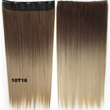 "Dip dye hairpieces New Fashion 24"" Women Clip in on gradient wig Bath & Beauty Hair Ombre Hair Extensions Two Tone Straight hair Gradient Hair Extension Colorful Hairpieces GS-666 10T16,1PCS"