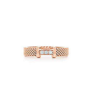 Tiffany & Co. -  Tiffany Somerset™ narrow ring in 18k rose gold with diamonds.