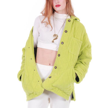 80s Vintage Bottega Veneta Quilted Jacket Lime Green Plush Fleece Boxy Oversized Winter Coat Made in Italy Women Size Large XL