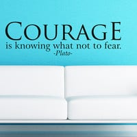 Plato - Courage - Art Wall Decals Wall Stickers Vinyl Decal Quote Room Decor Home Decor Motivational Saying