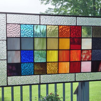 Stained glass panel window geometric rainbow squares stained glass window panel modern window hanging abstract suncatcher RS2