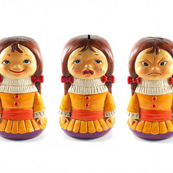 Three Faced Girl Piggy Bank Happy Sad Angry Kitsch Retro Doll Chalkware / Vintage 60s 70s
