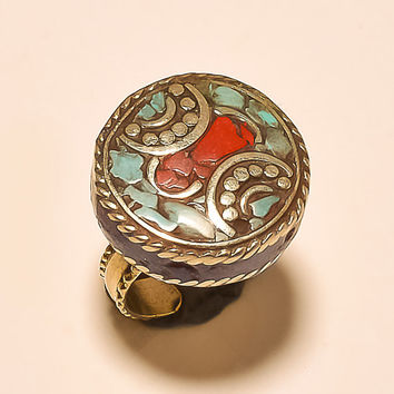 Beautiful Coral, Turquoise .925 Silver Tibetan Ring