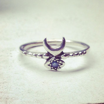 SALE:  Hand Carved Inanna Ring in Sterling Silver with Star Set Blue Sapphire